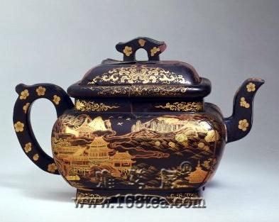 [鉴赏]紫砂黑漆描金彩绘方壶