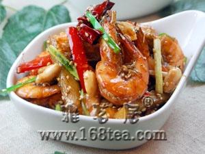 美味茶汁葱花鲜虾的做法