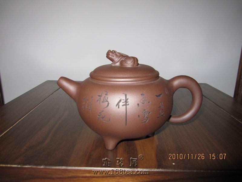 梅鹊壶(朱泥)