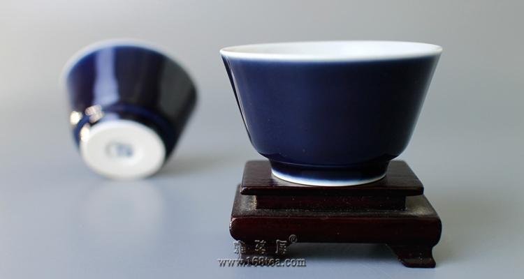 三陶轩 八�f四仟 全新霁蓝马蹄杯