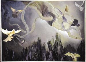 南京油画家杨林川作品:《和平飞天》上世博(图)