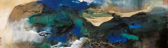 张大千泼彩《爱痕湖》估价2000万元
