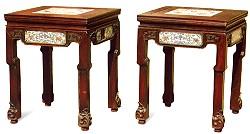 红木嵌瓷板方凳