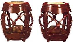 红木理石面鼓凳