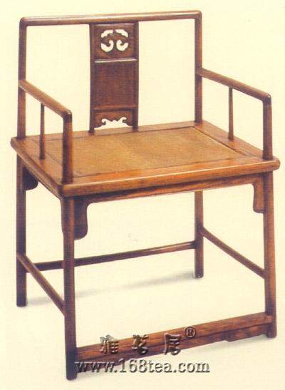 老花梨木圆梗直背椅