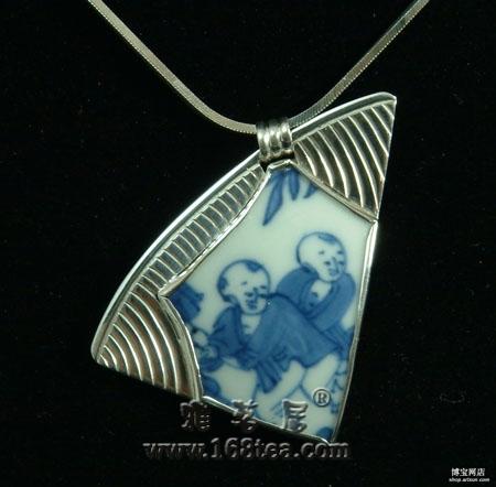 收藏与时尚结合:个性包银老瓷片项链
