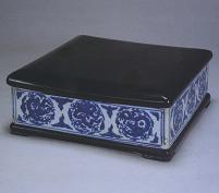 青花团龙纹方格盒