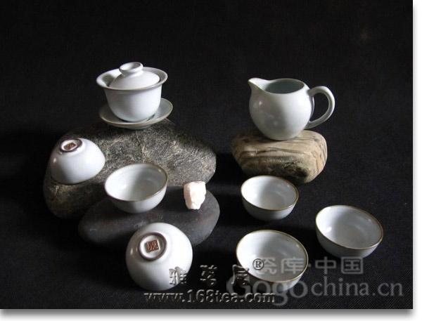 汝窑白瓷盖碗茶具
