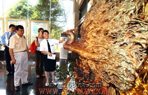 千年老茶树制成孔雀开屏的根雕欣赏