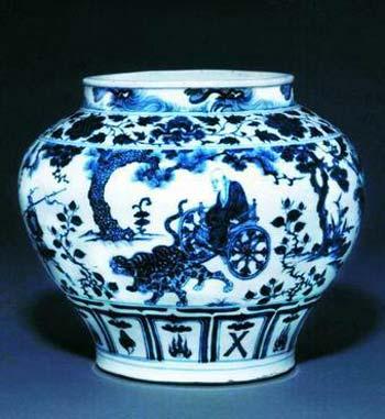 青花瓷器鬼谷下山图罐欣赏