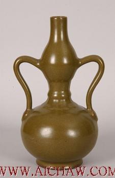 茶叶末釉绶带耳葫芦瓶