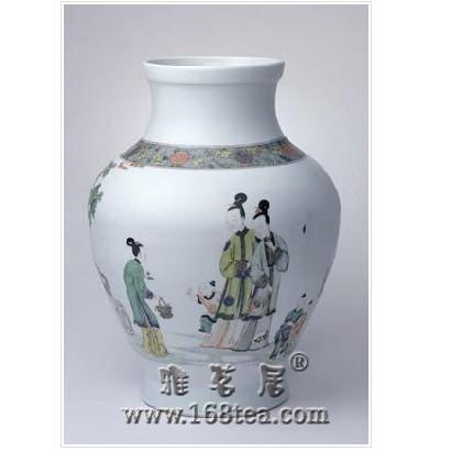 名瓷欣赏—清雍正五彩仕女纹罐