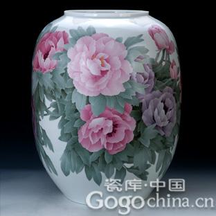 陶瓷艺术大师作品展——赏陈扬龙大师手绘艺术收藏品国色天香花瓶