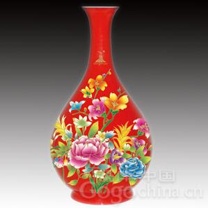 亚运特许收藏品——中国红花瓶(华彩亚运玉壶春瓶)