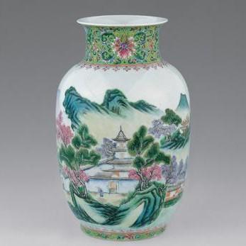 陶瓷粉彩山水画(一)