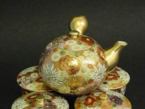 世界名瓷极品金菊盖碗茶具