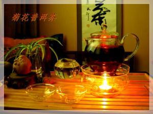 菊花普洱茶品茗图
